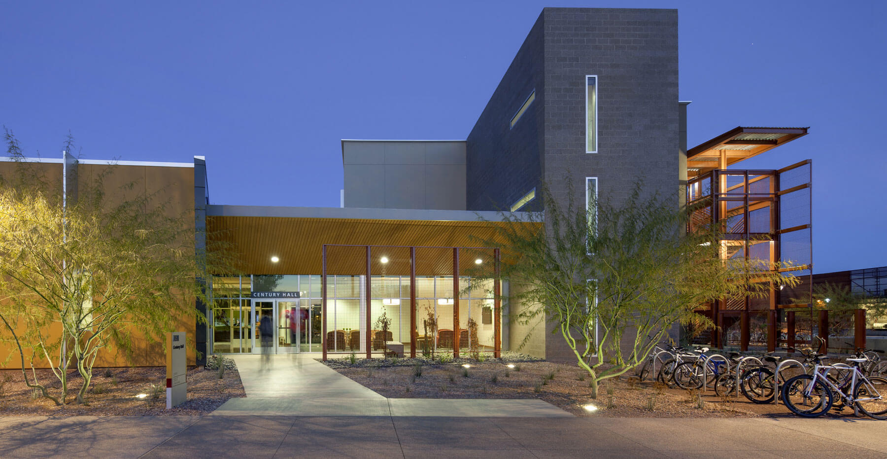ASU's Century Hall at nighttime