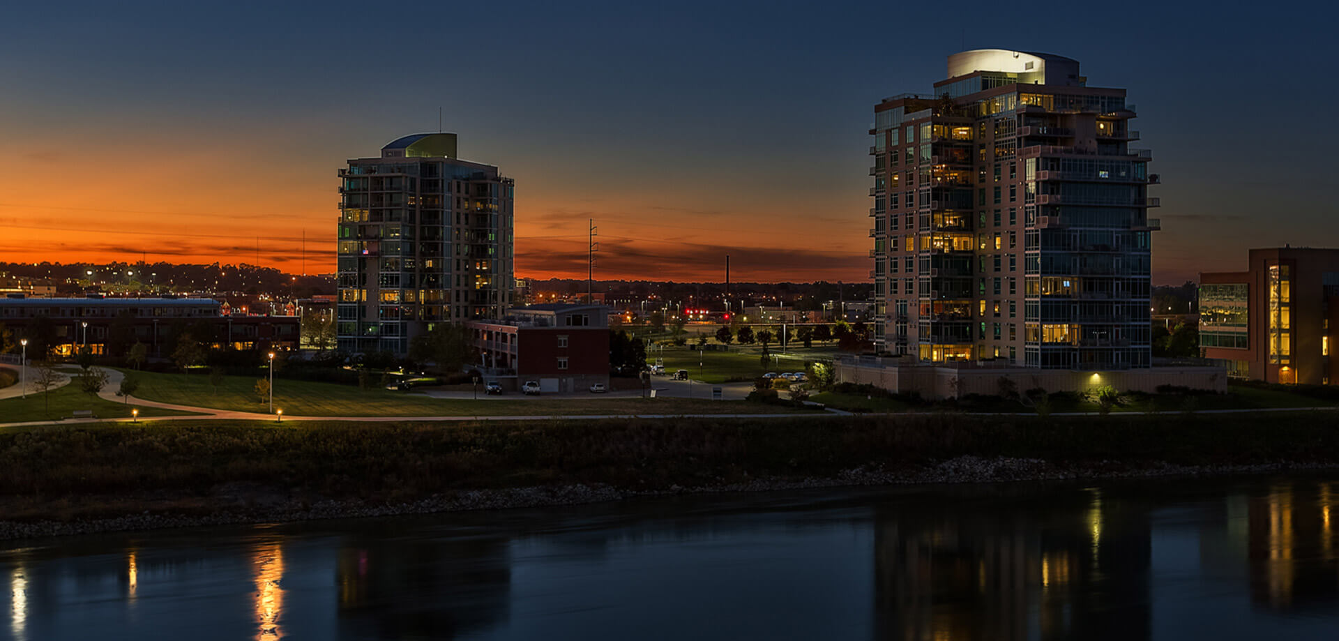 Riverfront Place at sunset