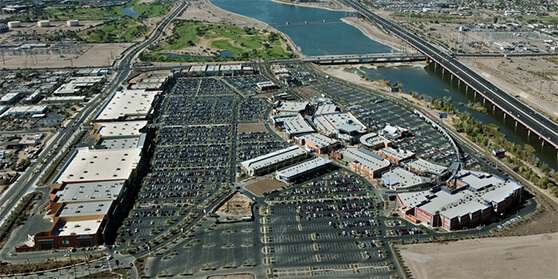 Overhead view of the Tempe Marketplace